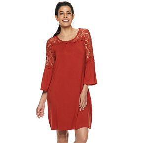 Women's Nina Leonard Bell Sleeve Lace Trapeze Dress