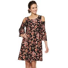 Women's Nina Leonard Flora Cold-Shoulder Trapeze Dress