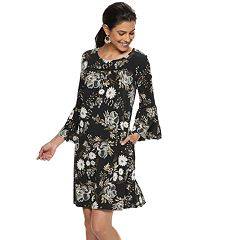 Women's Nina Leonard Floral Bell-Sleeve Trapeze Dress