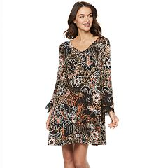 Women's Nina Leonard Abstract Floral Bell-Sleeve Trapeze Dress