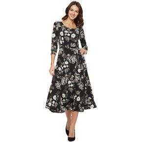 Women's Nina Leonard Floral Faux-Wrap Midi Dress