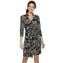 Women's Nina Leonard Print Faux-Wrap Dress