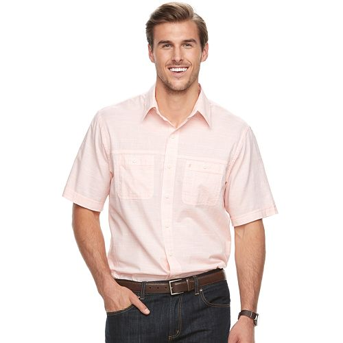 Big & Tall IZOD Regular-Fit Textured Chambray Button-Down Shirt