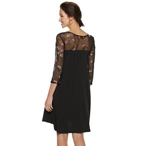 Women's Nina Leonard Floral Sheer Yoke High-Low Trapeze Dress