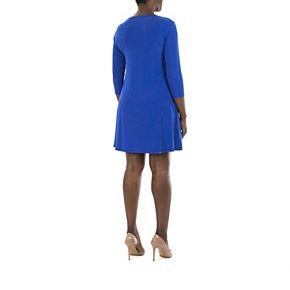 Women's Nina Leonard Embellished Keyhole Swing Dress