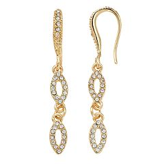 Gold Tone Simulated Stone Marquise Link Drop Earrings