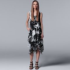 Petite Simply Vera Vera Wang Print Handkerchief Tank Dress