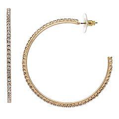 Gold Tone Rhinestone Detail Hoop Earrings