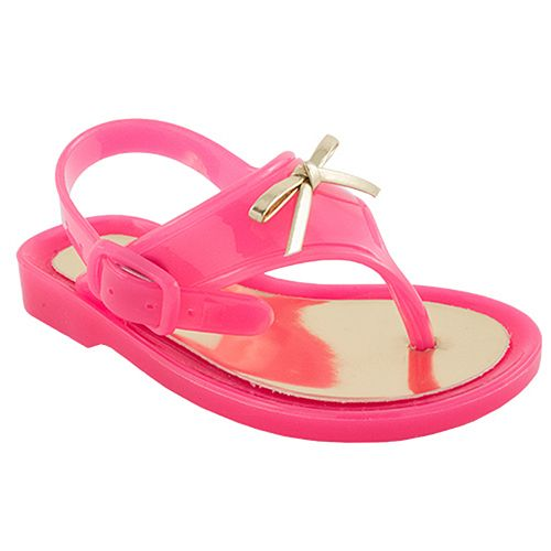 Baby Girl Wee Kids Pink Jelly Thong Sandal Crib Shoes