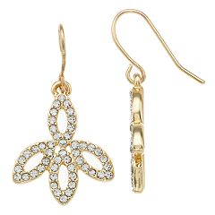 Simulated Stone Marquise Detail Drop Earrings