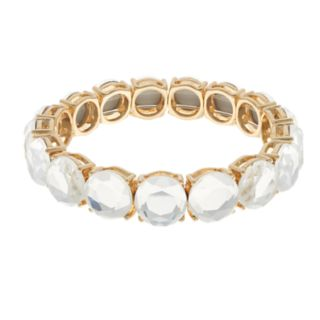 Gold Tone Simulated Stone Stretch Bracelet