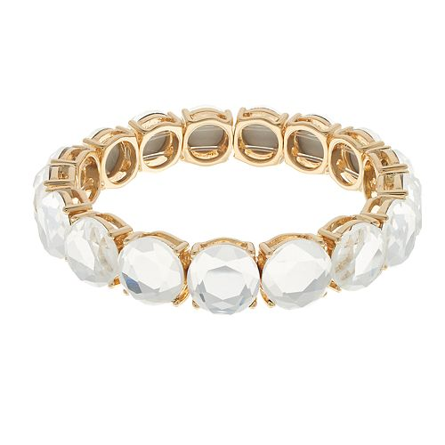 Gold Tone Simulated Stone Stretch Bracelet