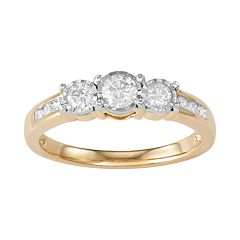 10k Gold 1/2 Carat T.W. Diamond 3-Stone Ring