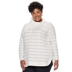 Plus Size Croft & Barrow ® Cable Knit Splitneck Sweater