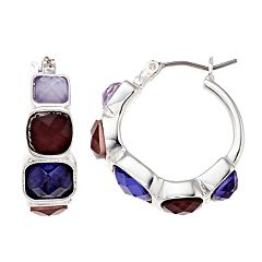 Dana Buchman Purple Simulated Abalone Hoop Earrings