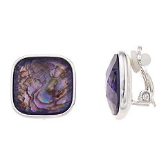 Dana Buchman Purple Abalone Stud Clip-On Earrings