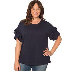 Plus Size Retrology Dolman Ruffle Sleeve Top