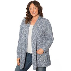 Plus Size Retrology Brushed Open-Front Cardigan