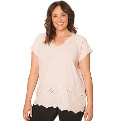 Plus Size Retrology Embroidery Top