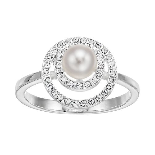 Brilliance Double Halo Ring with Swarovski Crystal Pearls