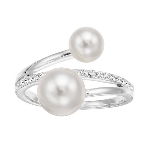 Brilliance Bypass Ring with Swarovski Crystal Pearls