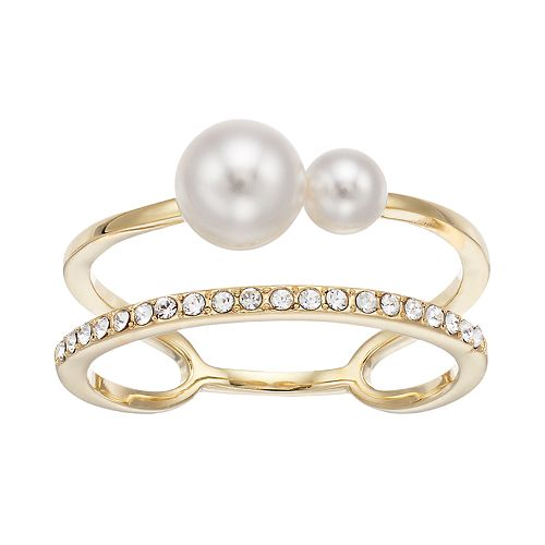 Brilliance Double Band Ring with Swarovski Crystal Pearls