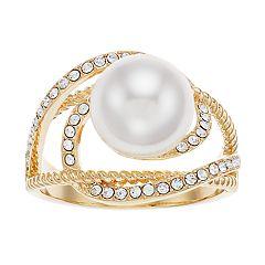 Brilliance Openwork Ring with Swarovski Crystal Pearls