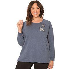 Plus Size 89TH & Madison Embellished Bird Applique Sweatshirt