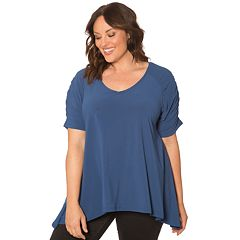 Plus Size 89th & Madison Ruched Sleeve Shark-Bite Hem Top