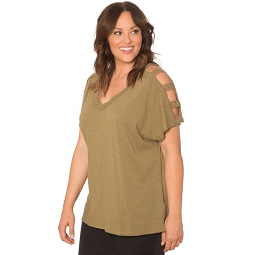 965aabe15abfdd Plus Size 89TH And Madison Cage Sleeve Top