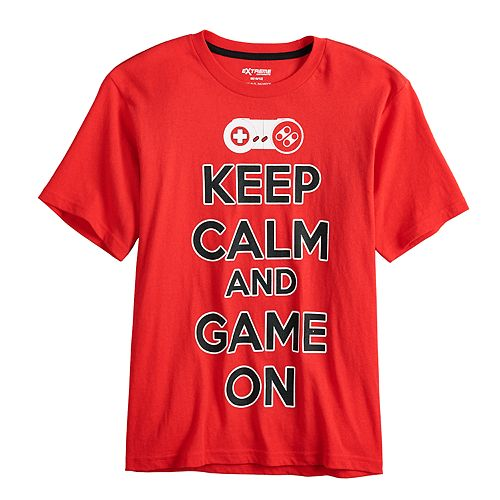 """Boys 8-20 """"Keep Calm And Game On"""" Graphic Tee"""