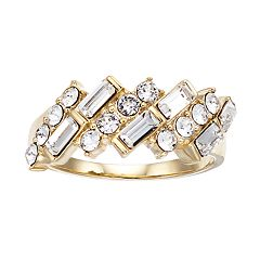 Brilliance Baguette Gold Tone Ring with Swarovski Crystal