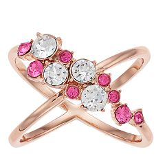 Brilliance Rose Gold Tone Cluster X Ring with Swarvoski Crystals