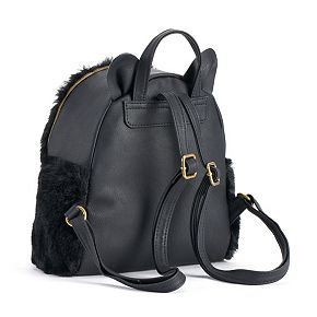 T-Shirt & Jeans Faux-Fur Cat Mini Backpack
