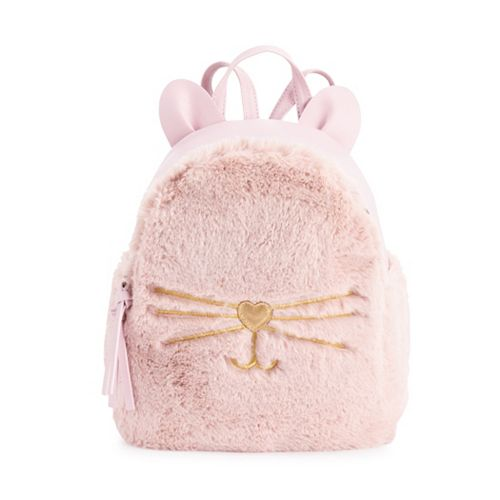 T-Shirt & Jeans Faux-Fur Cat Mini Backpack