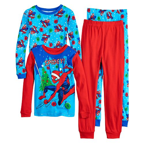 Boys 4-10 Spider-Man Christmas 4-Piece Pajama Set