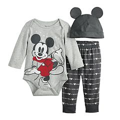 Disney's Mickey Mouse Baby Boy Graphic Bodysuit, Pants & Hat Set by Jumping Beans®