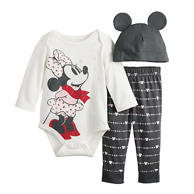 Disney's Minnie Mouse Baby Girl Grahpic Bodysuit, Pants & Hat Set by Jumping Beans®