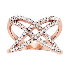 Brilliance Rose Gold Tone X-Shape Ring with Swarovski Crystal