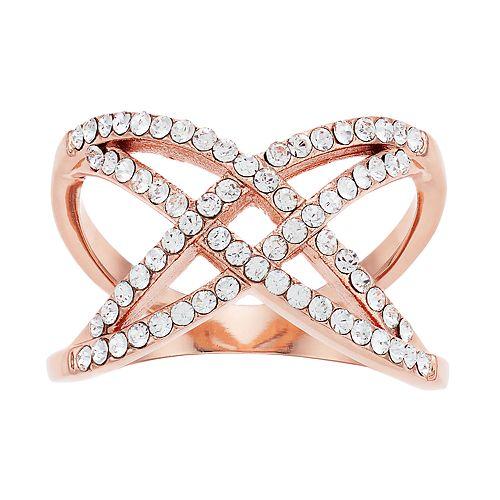 Brilliance Rose Gold Tone X-Shape Ring with Swarovski Crystal
