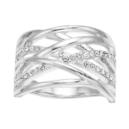 Brilliance Silver Tone Open Twine Ring with Swarovski Crystal
