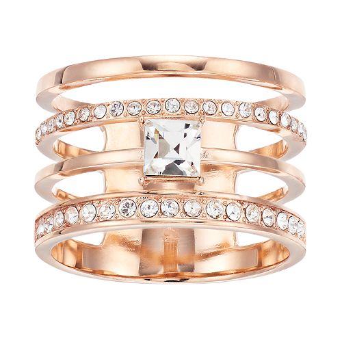 Brilliance Rose Gold Tone Multi-Band Ring with Swarovski Crystal