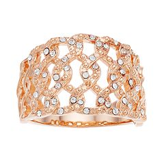 Brilliance Rose Gold Tone Open Braid Ring with Swarovski Crystal