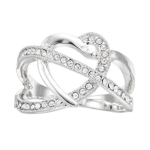 Brilliance Silver Tone Open Heart Ring with Swarovski Crystal