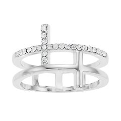 Brilliance Silver Tone Cross Ring with Swarovski Crystal
