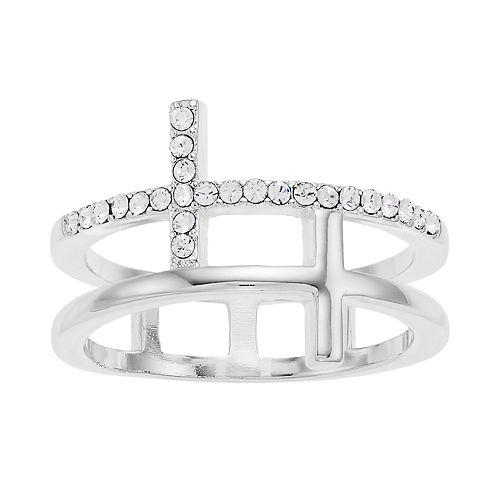 Brilliance Silver Tone Cross Ring with Swarovski Crystal