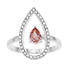 Brilliance Open Teardrop Ring with Swarovski Crystals