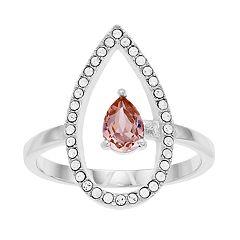 Brilliance Open Teardrop Ring with Swarovski Crystals