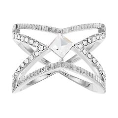 Brilliance Open 'X' Ring with Swarovski Crystals