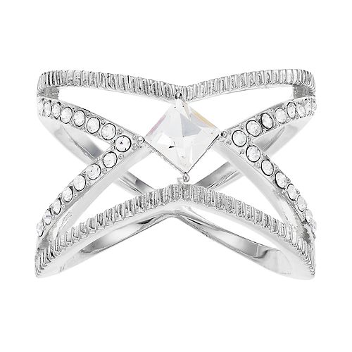 "Brilliance Open ""X"" Ring with Swarovski Crystals"